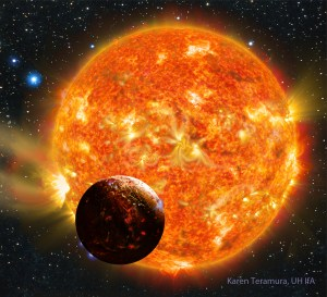 Artist's impression of the planet Kepler-78b and its host star. Art by Karen Teramura (UHIfA)