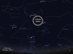 """A finder chart for the Orionids this year. The radiant is simply the direction from which most of the Orionids appear to """"radiate"""" from in the sky. Click for a bigger versio."""