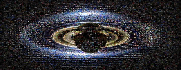 A composite of 1,600 images of people smiling and waving at Saturn.