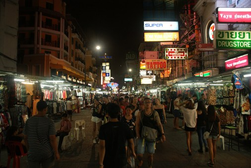 Khaosan Road, while the street stalls remain open and before its nightly descent into debauchery