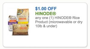 $1 Hinode Rice Coupon + Walmart & Commissary Deals