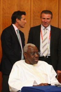 Britain's Sebastian Coe is the favourite to replace Lamine Diack as President of the IAAF ahead of Ukraine's Sergey Bubka (right) when he steps down in 2015
