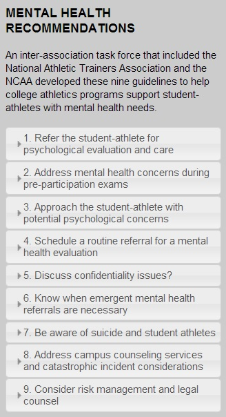 New Mental Health Recommendations Made for Student-Athletes The