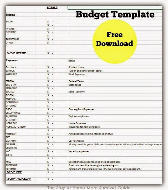 Setting Up Your Home Budget {Free Download} - The Stay-at-Home-Mom