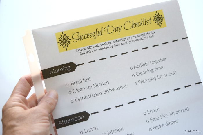Successful Mom Daily Checklist - The Stay-at-Home-Mom Survival Guide - daily checklist