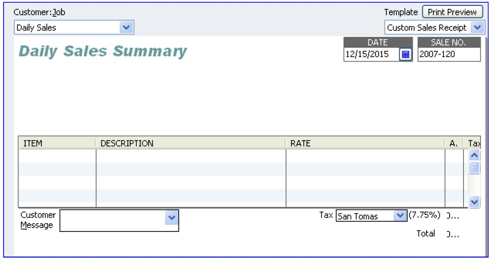Tips on QuickBooks Creating a Summarized Report of Daily Sales - dailey sales