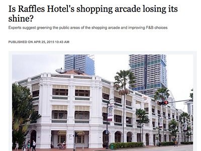 Kelly featured on Raffles Hotel in Straits Times
