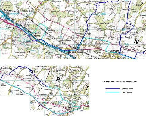 The A20 Path'n'Downs Marathon map