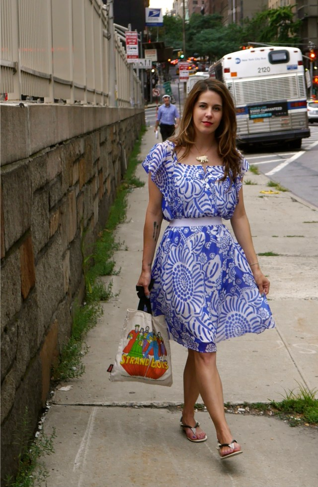 Dress: Tibi (Consignment) | Sandals: L'Agence (Consignment) | Tote Bag: The Strand | Necklace: Self-Created, Old