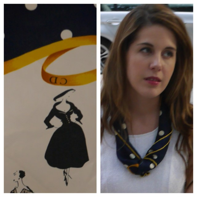 Left: Unfolded Vintage Christian Dior Scarf   Right: The scarf as a necklace