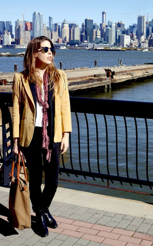 Suede Fringe Jacket: Lady Scully (Vintage) | Black Vest: Elizabeth & James (Consignment) | White Tee: The Row (Consignment) | Scarf: Vintage (Found in a Paris Boutique) | Pants: Madewell | WANT Les Essentiels de la Vie (Bird) | Chelsea Boots: Melograno (Secondhand)