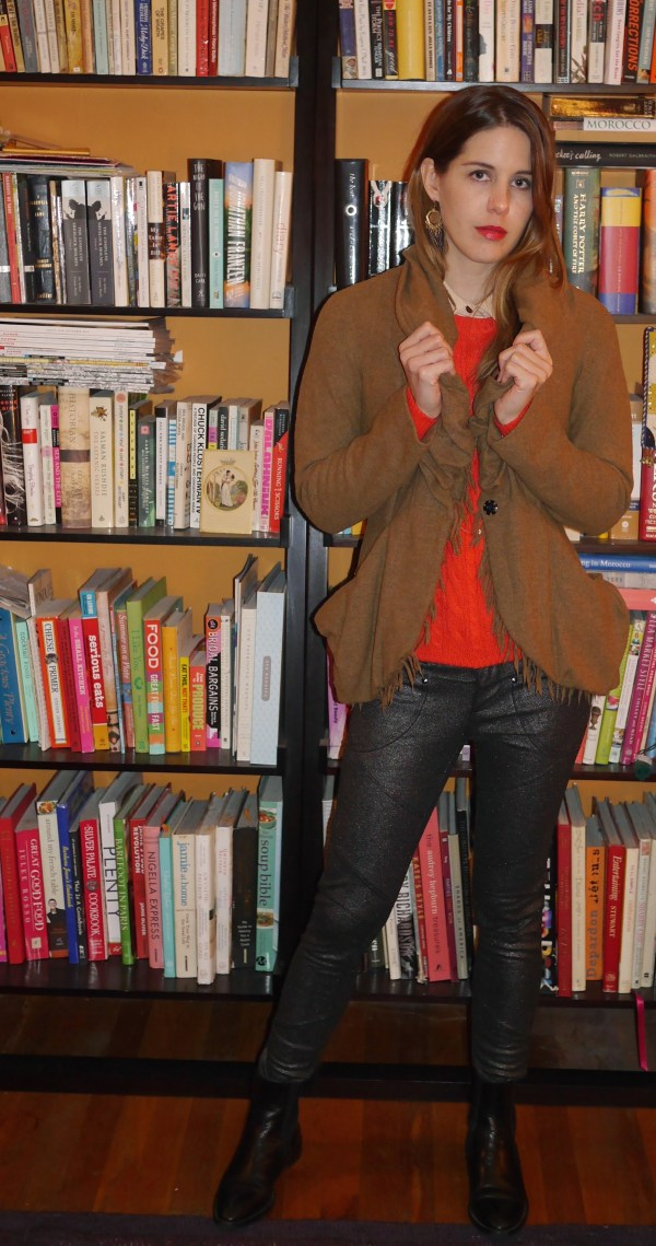 Tan Jacket: Vivienne Westwood (Consignment) | Pink Collared Shirt: Equipment (Consignment) | Red Sweater: Old Navy | Metallic Pants: Free People (Macy's) | Chelsea Boos: Melagrano (Secondhand) | Necklaces: Gorjana | Earring: Target