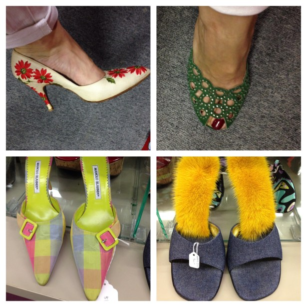 The shoe collection includes vintage and contemporary styles. Clockwise from top left: vintage embroidered pumps; jade and diamond sandals; plaid Manolo Blanks; denim slides with citron mink soles.