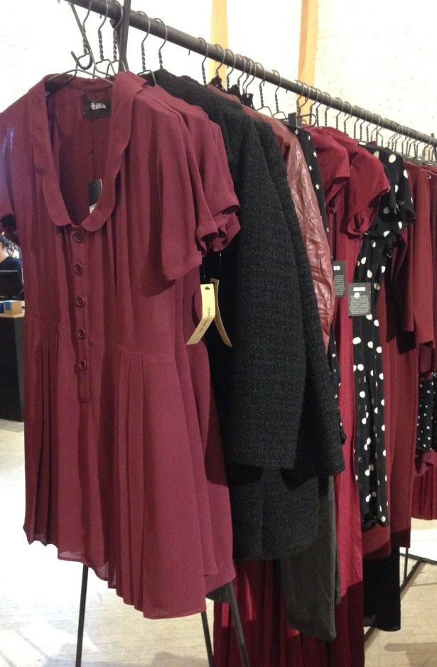 Most racks are grouped by color. Maroon and navy were my big favorites recently.