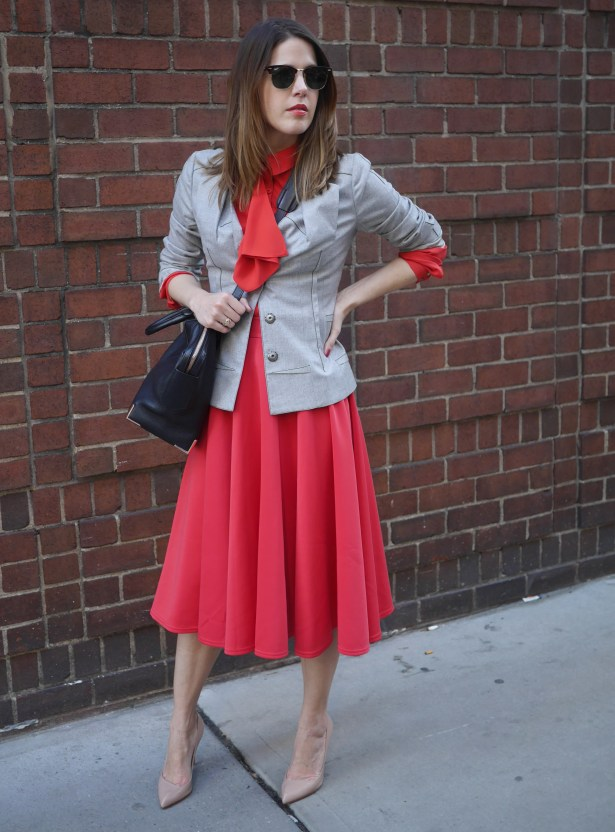 Gray Blazer: Christian Dior (Consignment) | Red Blouse: Rachel Roy | Red Skirt: ASOS | Shoes: Christian Louboutin (Saks) | Handbag: Alexander Wang (nordstrom)