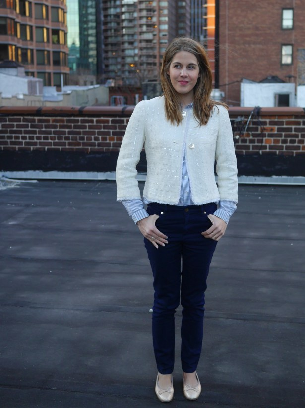 Jacket: Chanel (Consignment) | Striped Button-Up: H&M | Jeans: Trademark | Ballet FlatS: Chanel (Consignment)