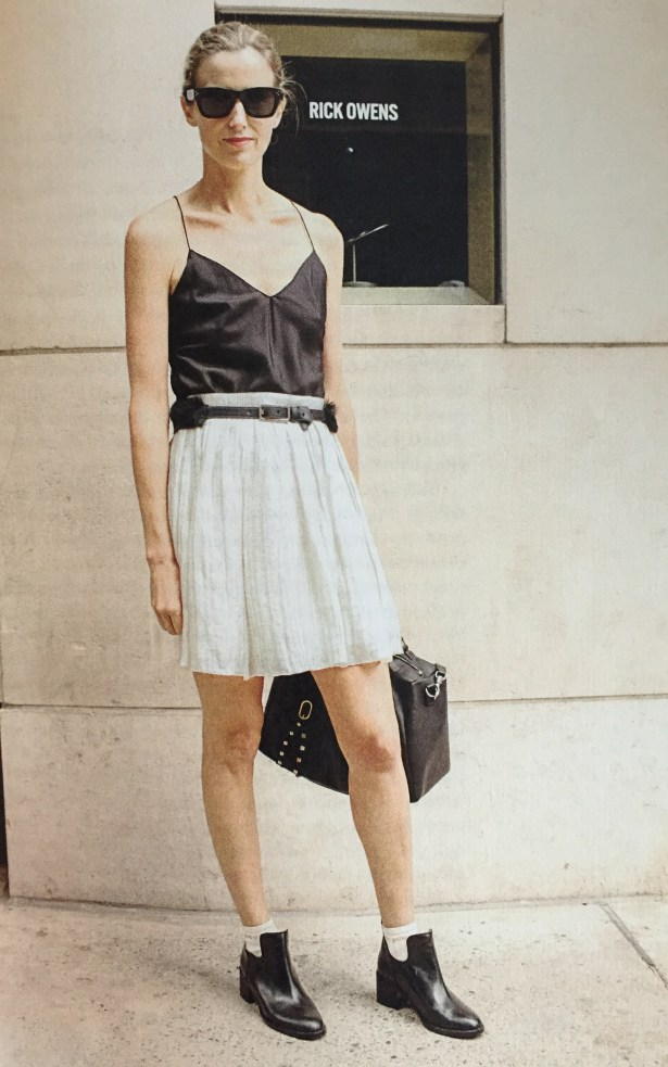 Amanda Brooks in a Proenza Schouler skirt, Ralph Lauren camisole, Phillip Lim belt and shoes. This was taken during Fashion Week when she served as Fashion Director for Barneys.