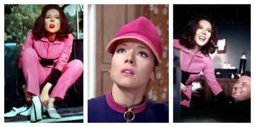 Emma Peel rocked the pink outerwear.