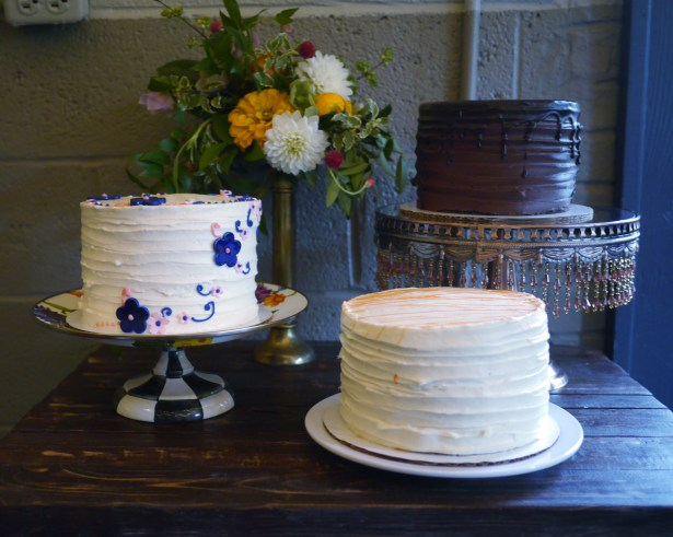 There were three cakes -- strawberry, chocolate and carrot cake.
