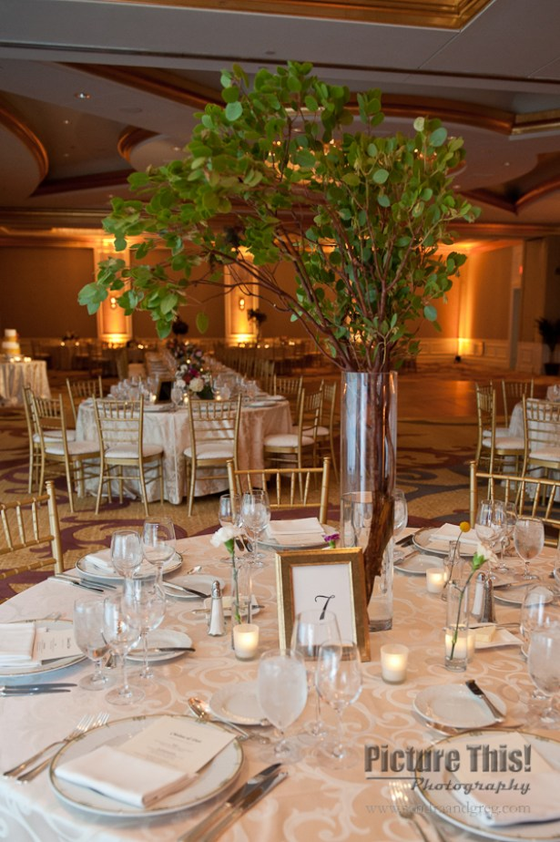 Some of the centerpieces were greenery instead of flowers.