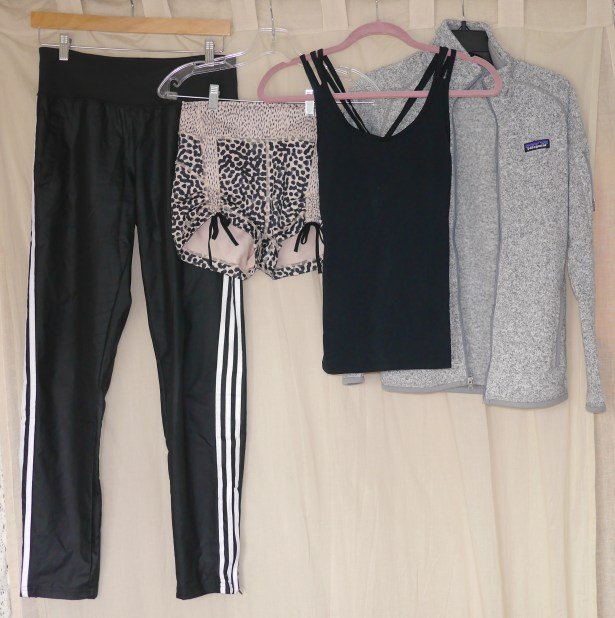 From Left to Right: Pants: Adidas | Shorts: Lululemon | Criss-Cross Tank: Gap Body | Fleece: Patagonia
