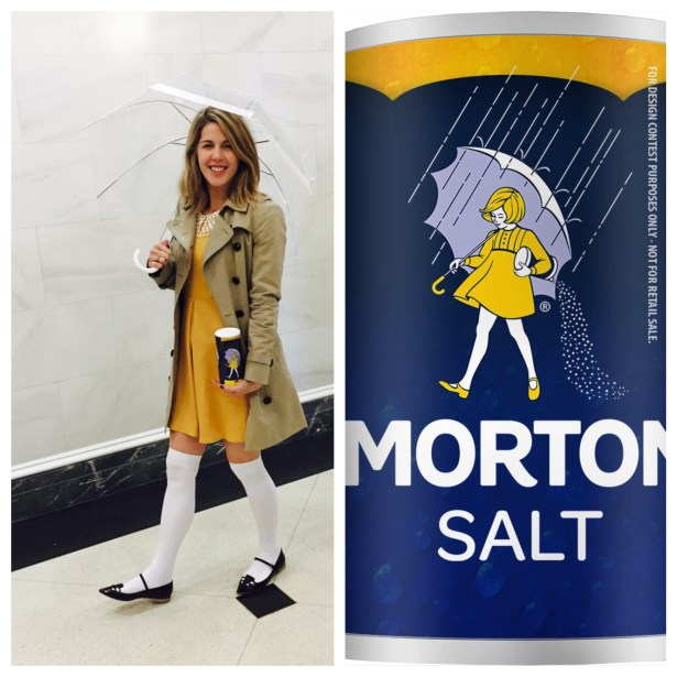 My costume was inspired by the classic imagery from the Morton Salt shaker.