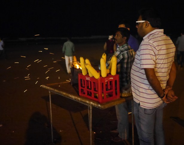 The corn vendors at Juhu Beach.