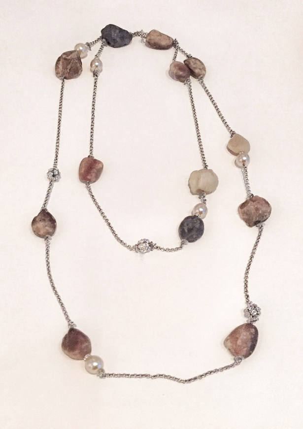 A necklace made of rocks sourced from Central Park.