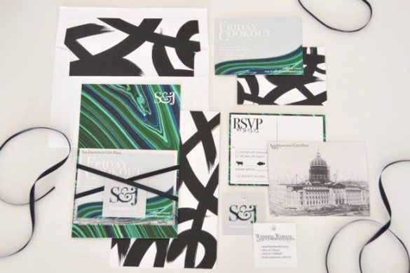 Modern malachite green, grey black white and marble wedding invitations designed by Stefanie Schoen // thestylesafari.com