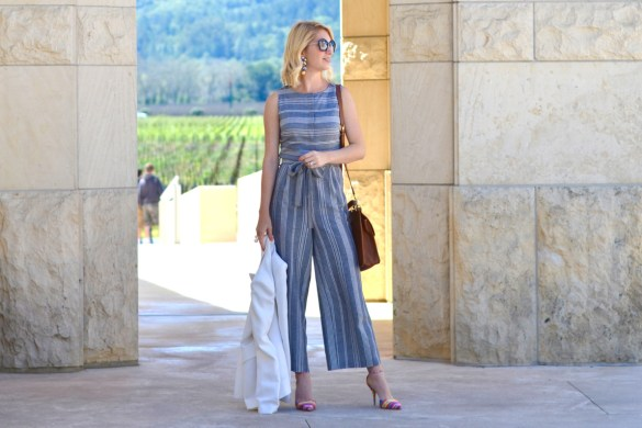 asos grey striped culotte jumpsuit, white blazer, colorful tabitha simmons heels, opus one winery // thestylesafari.com