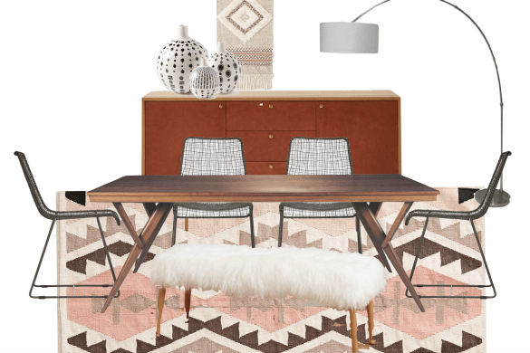 mid century modern bohemian dining room, shearling bench, leather west elm cabinet // thestylesafari.com