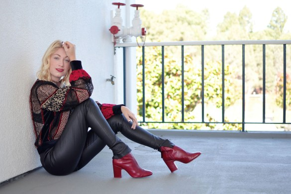Stefanie from the style safari wears H&M Studio red black lace mesh insert top, Iris and Ink leather leggings // thestylesafari.com
