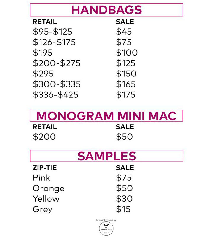Pics from Inside the Rebecca Minkoff Sample Sale - TheStylishCity - price list sample