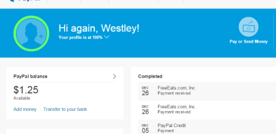 This shows the activity from today hitting my PayPal from FreeEats.com. Sweet!