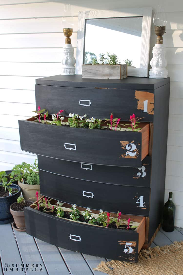 DIY Dresser Flower Planter, shared by The Summery Umbrella at The Chicken Chick's Clever Chicks Blog Hop