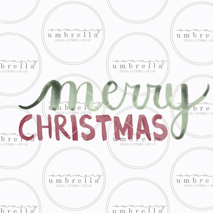 Merry Christmas Watercolor Vector The Summery Umbrella - watermark christmas