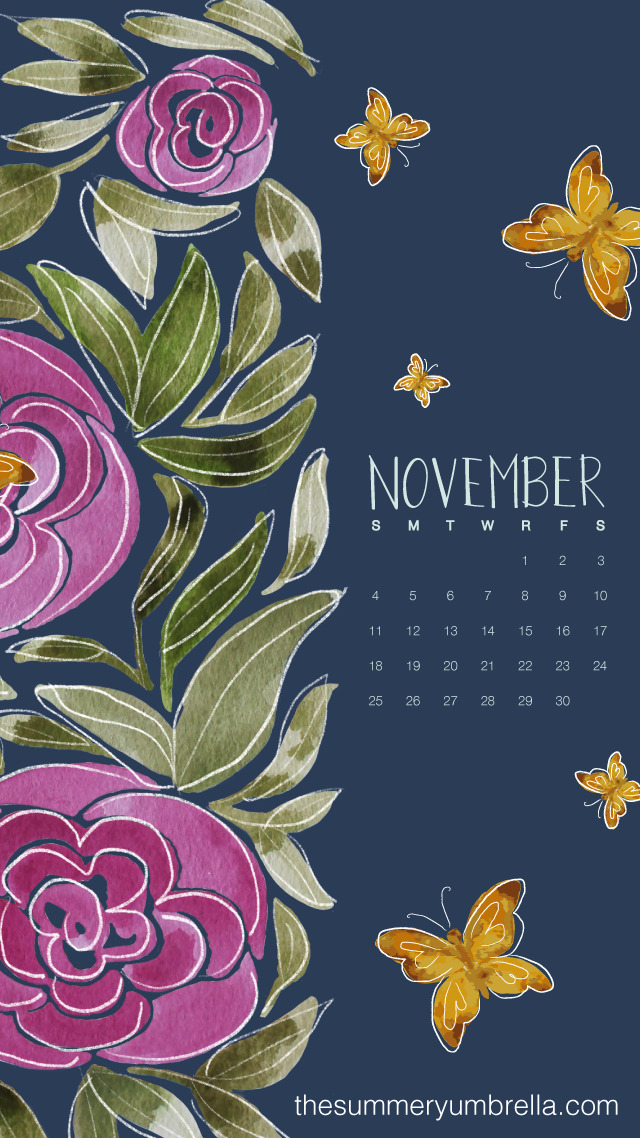 FREE November Calendar Download Desktop and Smartphone Backgrounds