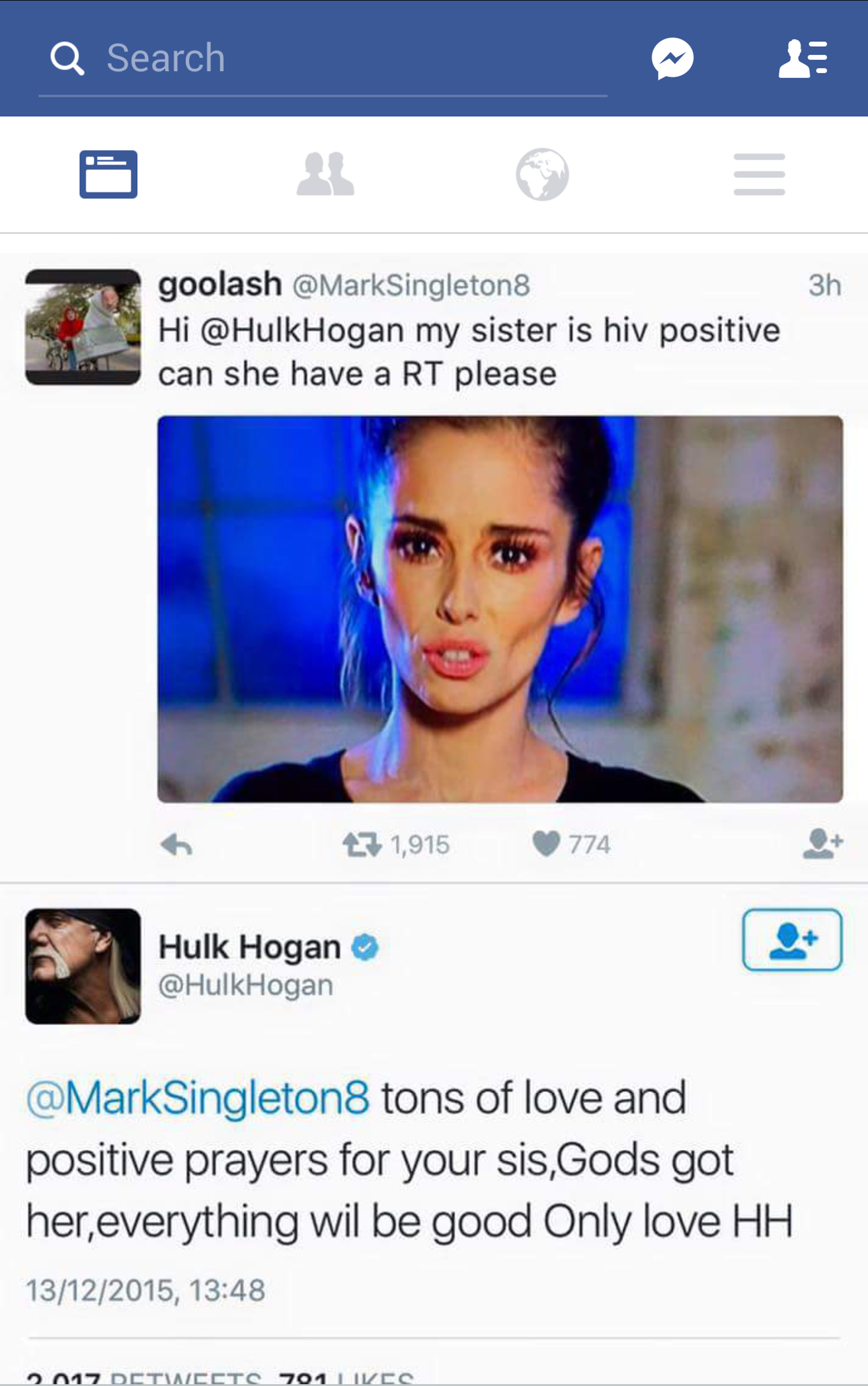 Hulk Hogan Twitter Hulk Hogan Sends Good Wishes To Hiv Sufferer Cheryl Fernandez