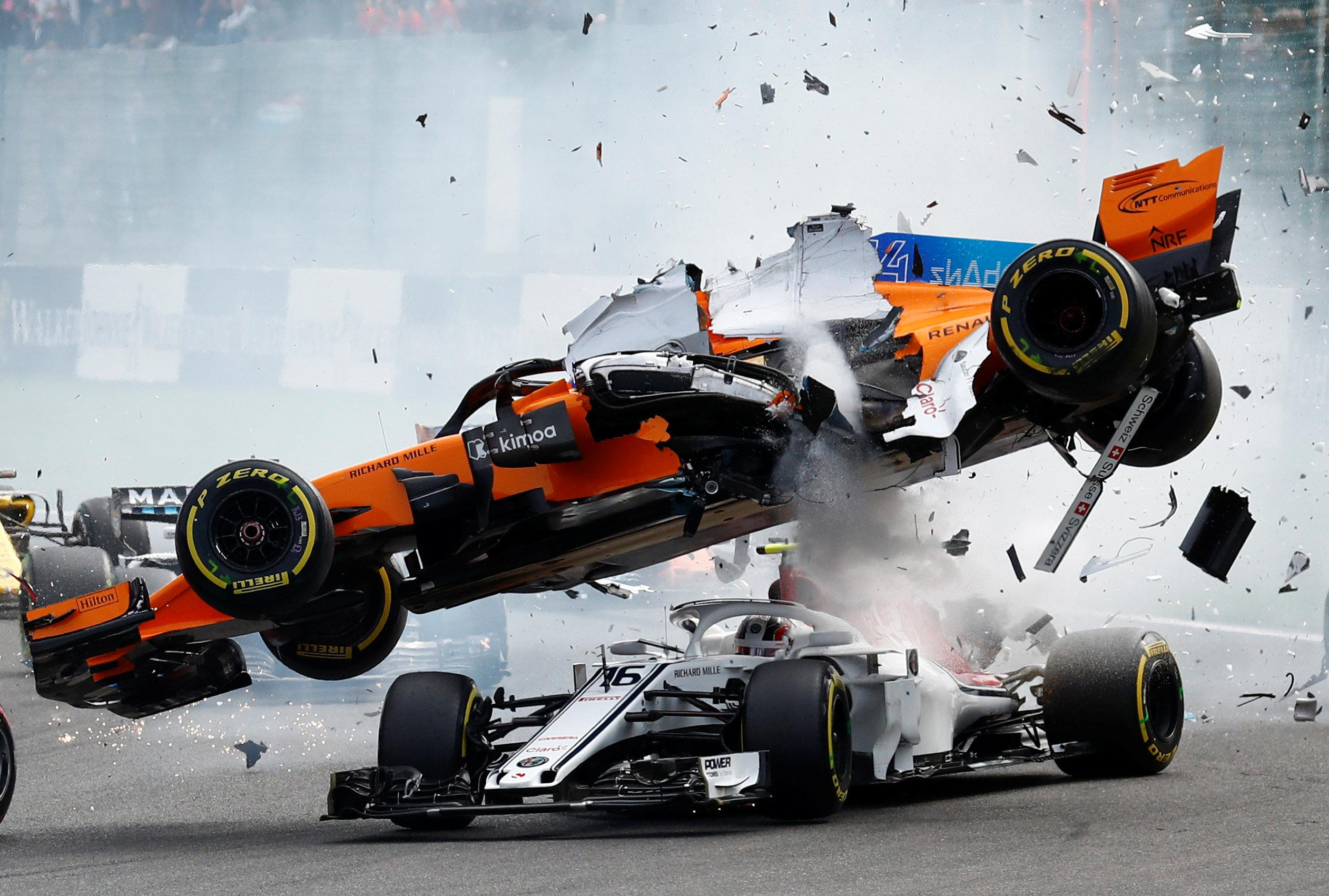 Fernando Alonso F1 Grand Prix Belgian Grand Prix Crash Fernando Alonso Launched Into The Air In