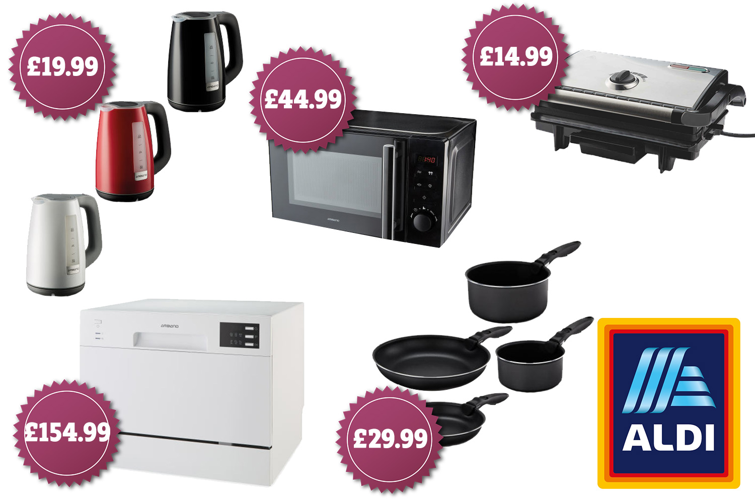 Aldi Saucepans Aldi S New Kitchen Range Includes A 150 Dishwasher And 15 Waffle