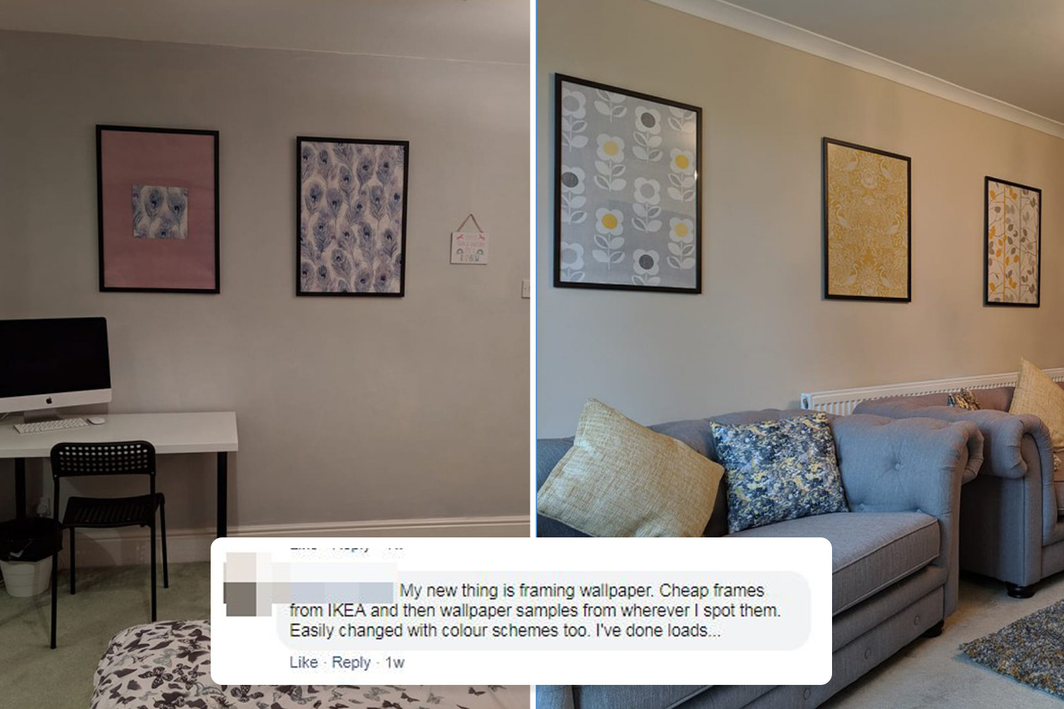 Ikea Wall Frames Uk Woman Jazzes Up Her Home Using Free Wallpaper Samples And