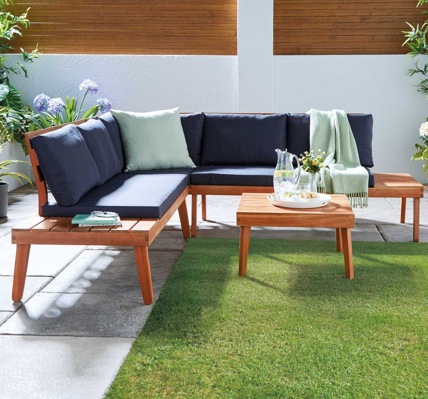 Aldi Is Selling A Stylish Wooden Corner Sofa And Table Set For Your Garden - Garden Furniture Clearance Argos