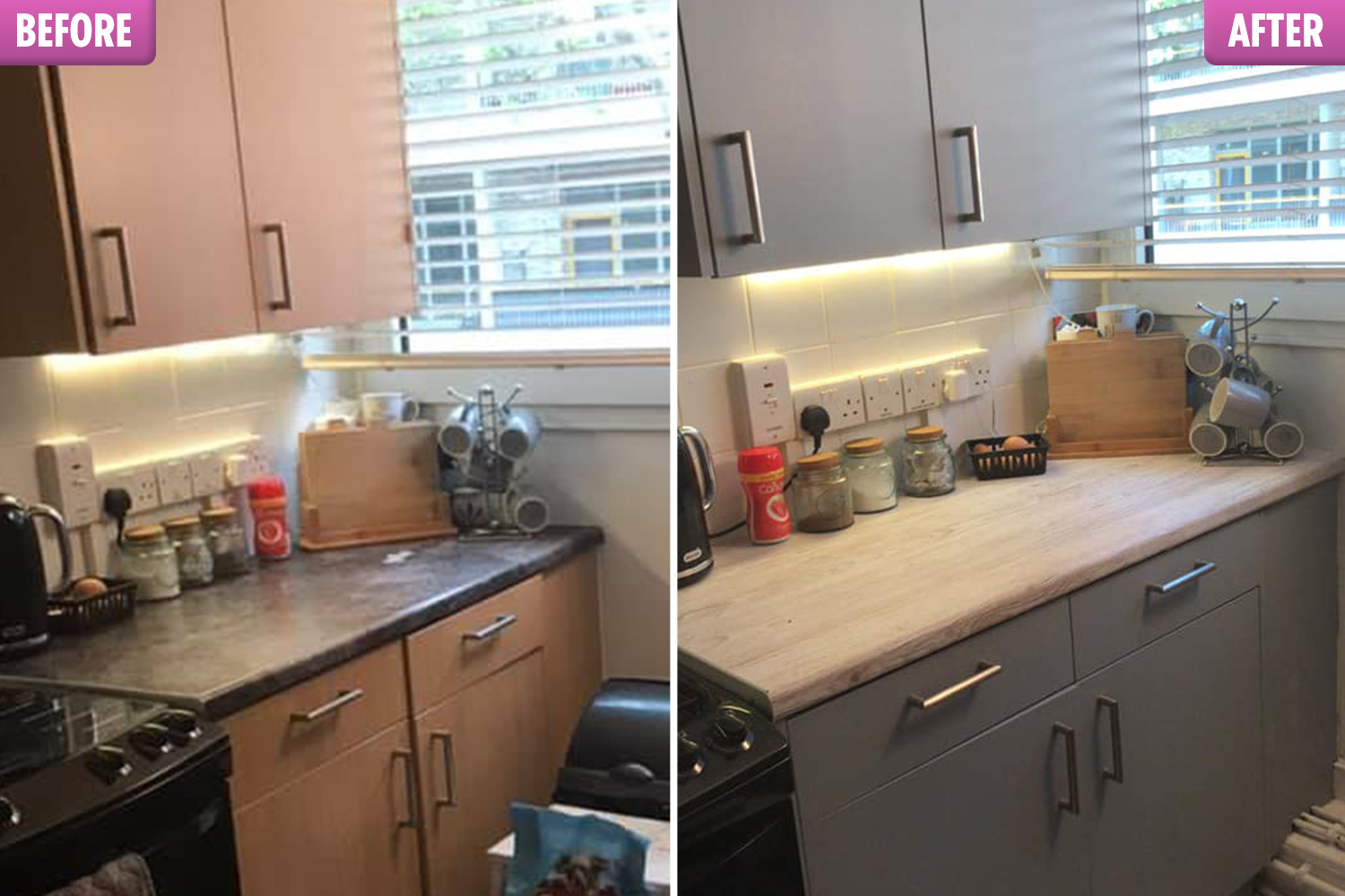B&q Kitchen Design Jobs Woman Revamps Her Kitchen For 31 Using Trendy Worktop Stickers And