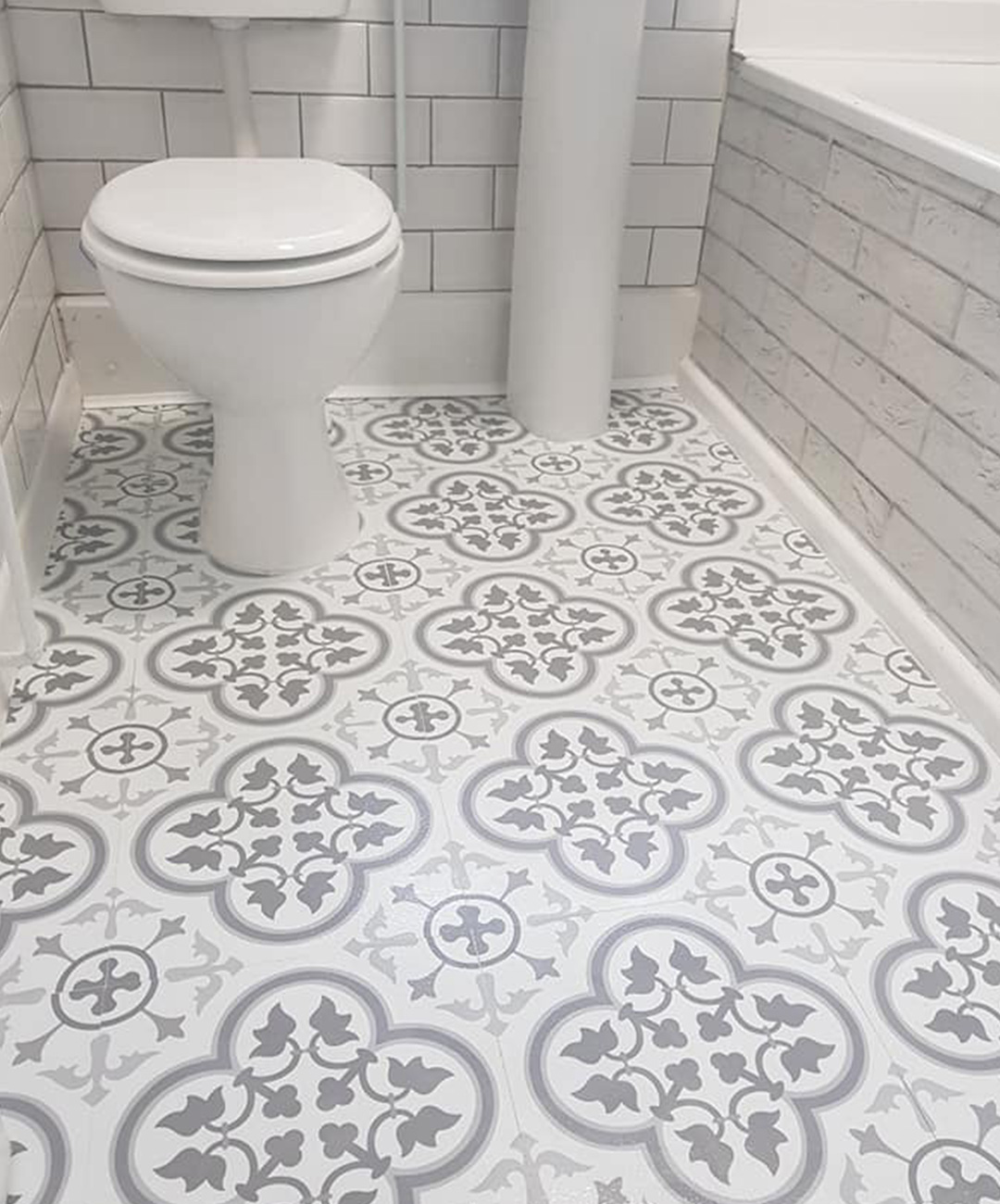 Woman Gives Her Boring Bathroom A Stunning Monochrome Makeover Using 28 Stick On Tiles From Dunelm