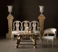 Swedish Rococo Bench, Swedish Barrel Chair