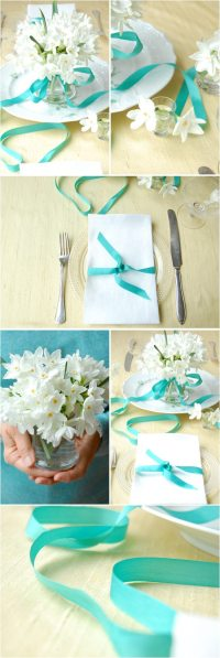 teal-ribbon-table-settings-paper-whites - The Sweetest ...