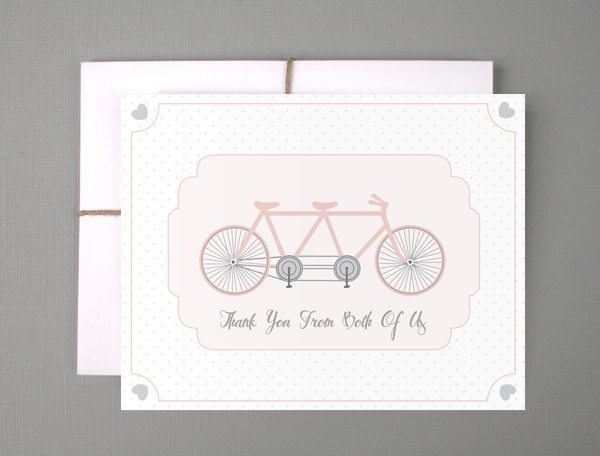 Pretty Printables Cute Bicycle Thank You Cards - The Sweetest Occasion - printable thank you cards black and white