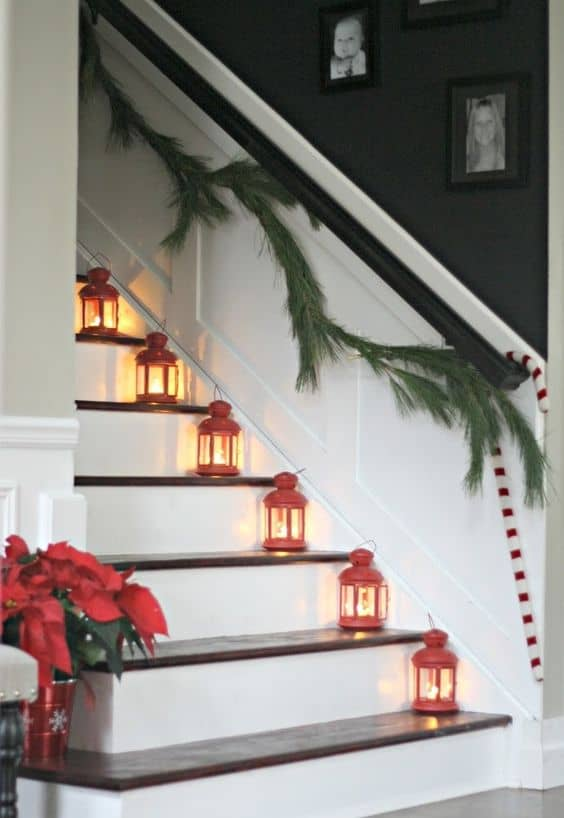 Staircase Hanging Lights 33 Ideas- Decorating Christmas Stairs