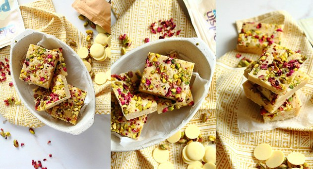 White Chocolate Vanilla Protein Bars Recipe by Peachy Palate