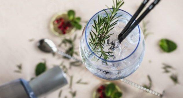 Gin Soda with a Rosemary